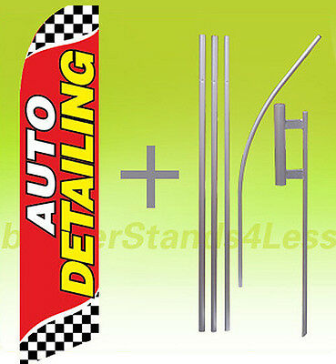 Auto Detailing Swooper Flag Kit Feather Flutter Banner Sign 15 - Checkered Rb
