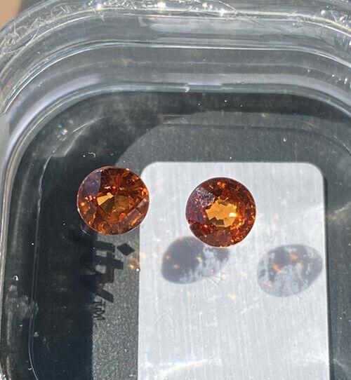 matched pair spessartine garnet 5.5mm round 1.96tcw gemstones