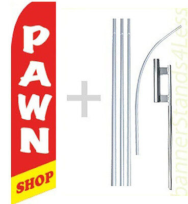 Pawn Shop Swooper Flag Kit Feather Flutter Banner Sign 15 Tall - Rb