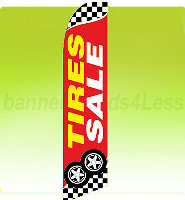 Tires Sale Swooper Flag Feather Flutter Banner Sign 11.5 Tall - Checkered Rb