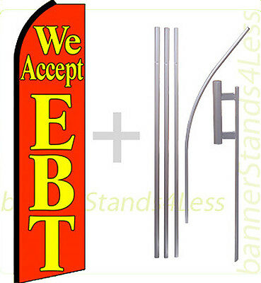 We Accept Ebt Swooper Flag Kit Feather Flutter Banner Sign 15 Set - Rq
