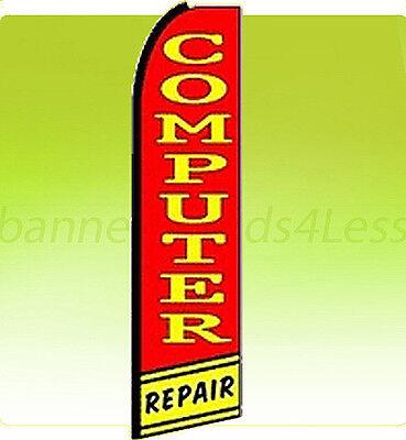 Computer Repair Swooper Flag Feather Flutter Banner Sign 11 5   Q1