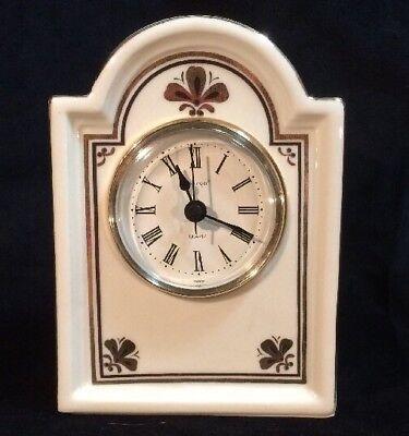 Vintage Godinger Quartz Cream & Gold Porcelain Mantle Clock With Floral Details