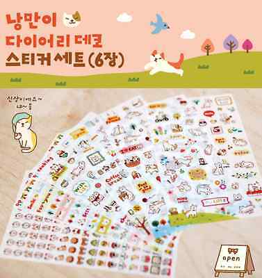 #35 cute cat cartoon pvc stickers notebook diary decoration 6 sheets/set