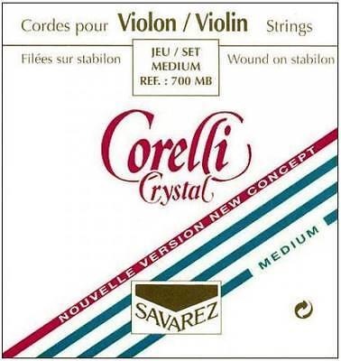 Corelli Crystal 4/4 Violin String Set: Med Gauge-Ball E
