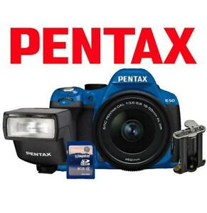 NEW OB PENTAX K-50 DSLR CAMERA KIT K-50 139549933 16MP 18-55MM LENS AF200 FLASH BATTERY HOLDER 8GB SD CARD DIGITAL BLUE