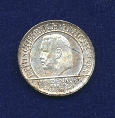 GERMANY  WEIMAR REPUBLIC  1929-J   3 REICHSMARK SILVER COIN, ALMOST UNCIRCULATED