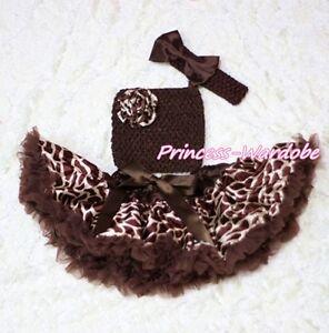 Baby-Brown-Giraffe-Pettiskirt-Tutu-Dress-Crochet-Tube-Top-headband-3PC-Set-3-12M