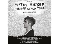 4 x JUSTIN BIEBER TICKETS - SHEFFIELD ARENA - STANDING TICKETS -PURPOSE WORLD TOUR 26TH OCTOBER 2016
