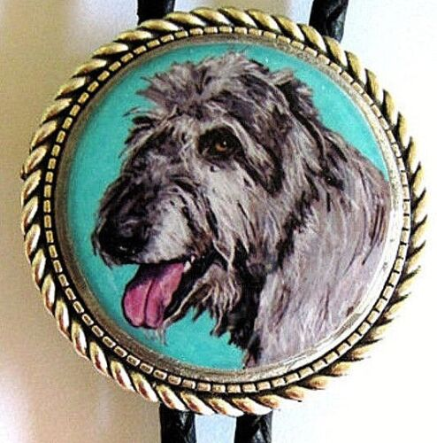 Irish Wolfhound Original Art Classic Bolo Tie