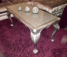 siver table with glitter inside glass top really nice french designed