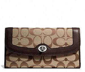 NEW COACH F49145 Womens Park Signature Checkbook Wallet KHAKI / MAHOGANY $228.00