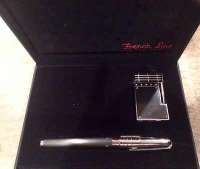 ST Dupont Gatsby French Line Lighter and Fountain Pen Gift Set-0079/1864