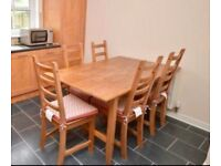 Solid Wood Extendable Table PLUS Six Chairs