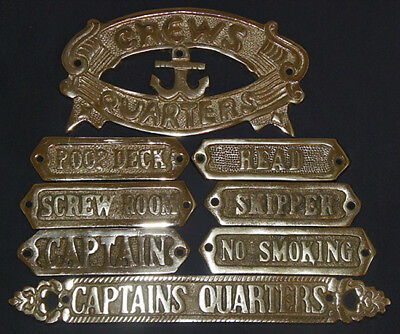 Chrome Plated Solid Door Sign Nautical Maritime Wall Plaque Decor