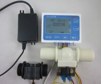 G1 Water Flow Control Lcd Displayflow Sensor Metersolenoid Valve24v Power