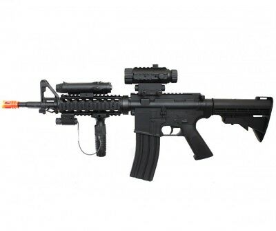 WELL M4A1 RIS Electric Airsoft Gun w/ Flashlight and Laser Gravity Fed D92H