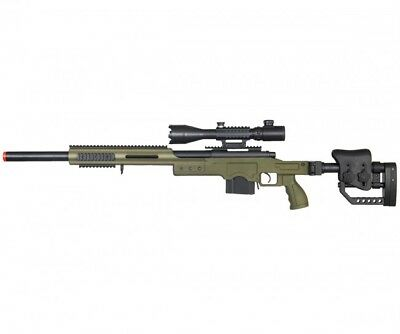 WELL Bolt Action Airsoft Sniper Rifle w  Illuminated Scope OD Green  MB4410GA2 dd2be0ddbfcad