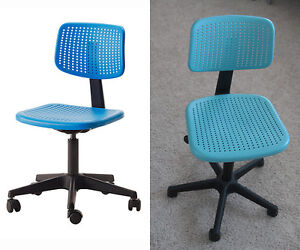 IKEA  Swivel Chair Adjustable and on Casters (Blue Plastic)