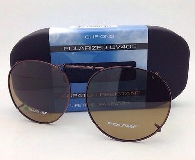 COCOONS Amber Polarized Sunglasses / Eyeglasses Over Rx Clip-on RND 2-50 Bronze