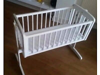 Mothercare white swinging crib, plus mattress.
