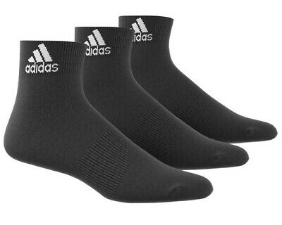 3 PACK Adidas Logo Ankle Lightweight Sports Socks Men's Women's - Black