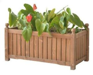 NEW RECTANGLE WOOD PLANTER BOX GARDEN FIR
