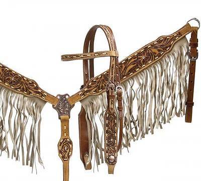 New Showman tan leather headstall and breast collar set with tan suede fringe!