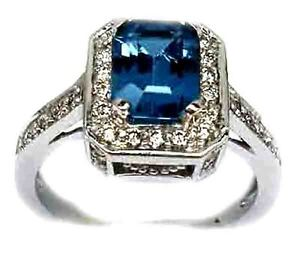 NEW-2-50CT-EMERALD-CUT-LONDON-BLUE-TOPAZ-DIAMOND-ENGAGEMENTRING-14K-WHITE-GOLD