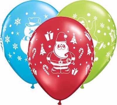 Balloons Santa Snowman Penguin Design Party Supplies (Penguin Party Supplies)