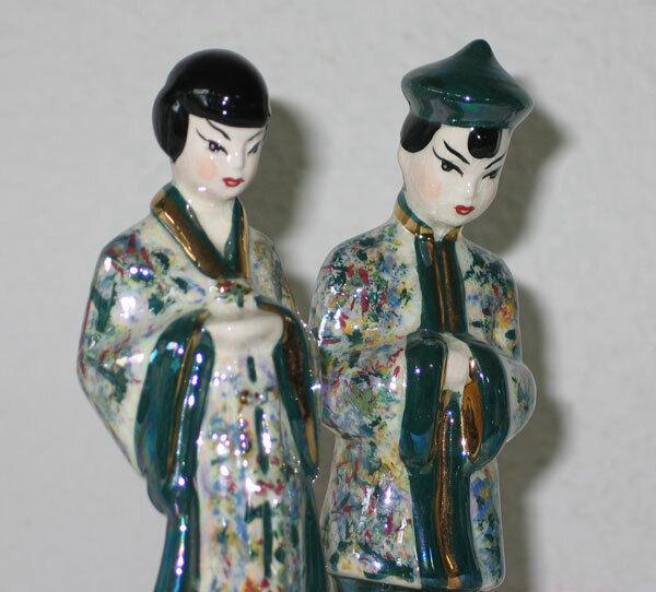 Vintage Lusterware Chinese Figurines #4071 Hand Painted California? Japan?