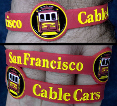(San Francisco Cable Cars Silicone Wristband Trains Rail Transport Grip Man TW025)
