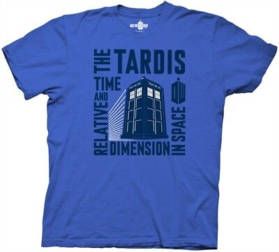 Doctor Who, The Tardis Time and Relative Dimension in Space T-Shirt, NEW (Time And Relative Dimension In Space T Shirt)