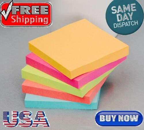 Sticky Notes 3in x 3in Self-Stick Notes 5 Bright Color 1 Pads,100 Sheets/Pad