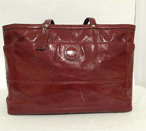 Coach Red Patent leather diaper/laptop bag
