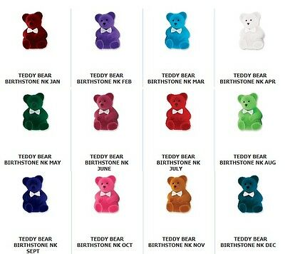 Adorable Teddy Bear Birthstone Pendant Necklace New in Box Great Gift FREE SHIP - Adorable Teddy Bear