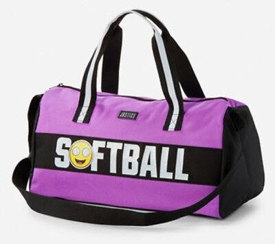 NWT Justice Emoji Softball Girl Duffle Duffel Bag Glitter Graphic Zip Closure](Softball Emoji)