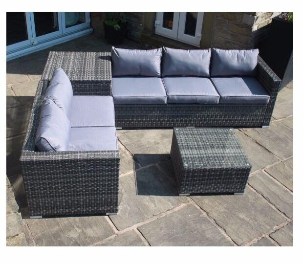 grey rattan corner sofa set with grey cushions corner storage box brand new in