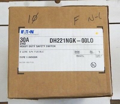 Eaton Dh221ngk Heavy Duty Safety Switch 30 Amp 240v Fused N-1 Indoor New