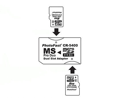 Micro SD TF Memory Stick MS Pro Duo PSP Karte Dual 2 Schlitz Adapter Konverter - Memory Stick Konverter