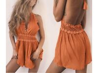 Orange backless tassel playsuit