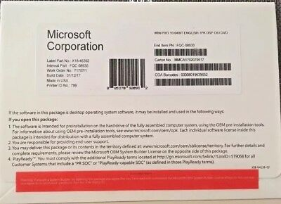 Microsoft Windows 10 Professional Pro 64 Bit Oem Full Version Brand New