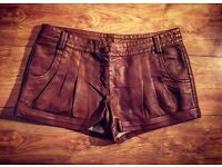 Brown Leather Look Shorts - Size 16