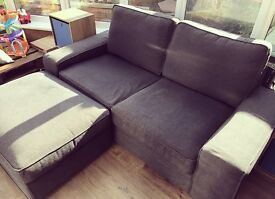 Grey large two seater sofa with foot stool fantastic condition