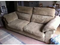 DFS beige jumbo cord 3 seater sofa in excellent condition