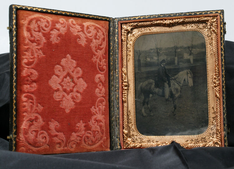 RARE CIVIL WAR ERA TINTYPE OF YOUNG MAN ON HORSE IN ORIGINAL CASE W/ CLASPS