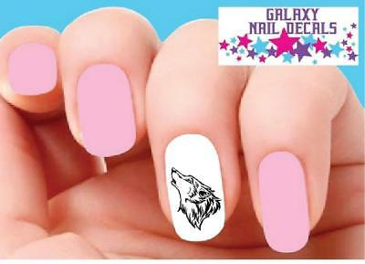 Waterslide Nail Decals - Set of 20 Wolf Howling](Wolf Nails)