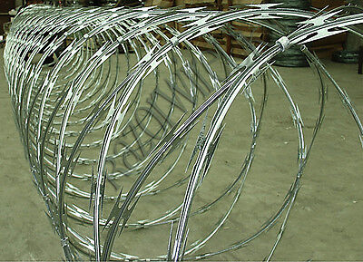 """RAZOR WIRE -10m x 900mm """"Clipped"""" Galvanised with 65mm barbs, Barbed Wire, Fence"""