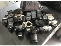 Job lot of camera, flashes and camera bags