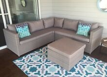 Stunning Wicker Stone Grey Outdoor Couch Furniture Setting R$2399 Dicky Beach Caloundra Area Preview